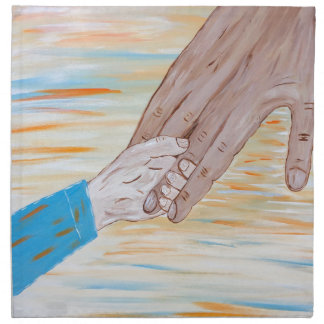 Child holding Father's hand Napkin