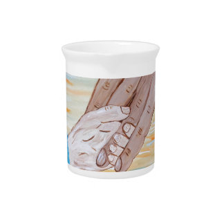 Child holding Father's hand Pitcher