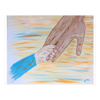 Child holding Father's hand Postcard