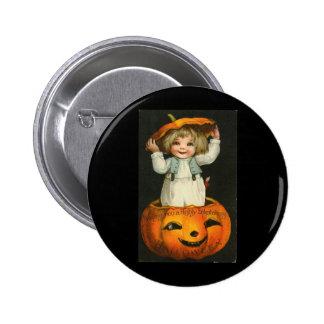 child in jackolantern button