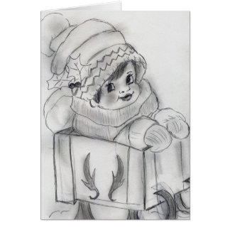 Child In Sleigh Christmas Card