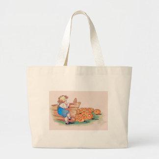 Child Jack O' Lantern Pumpkin Patch Jumbo Tote Bag