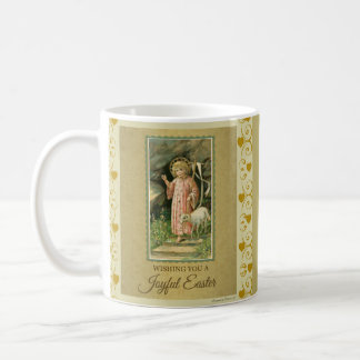 Child Jesus Lamb Gold Hearts Easter Coffee Mug