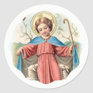 Child Jesus with Lambs Classic Round Sticker