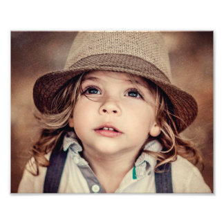 Child Looking up Girl Hat Vintage Portrait Photo