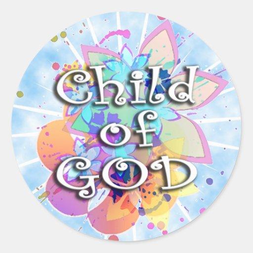 Child of God, Pastel Round Sticker