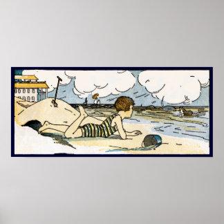 Child on Beach Vintage Art Poster Print