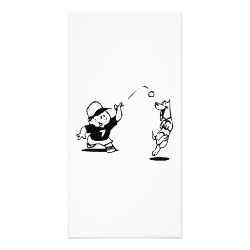 Child Playing Catch with Dog Photo Greeting Card