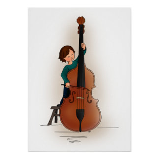 Child playing double bass poster