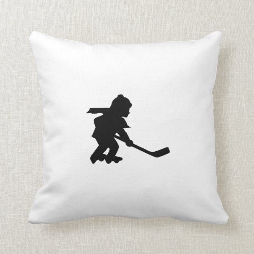 Child Playing Roller Hockey Pillows