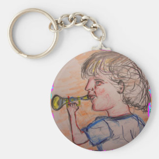 child playing toy horn keychains