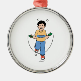 Child Playing with a Jump Rope Metal Ornament
