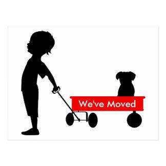 Child Pulling Red Wagon New Address Postcard