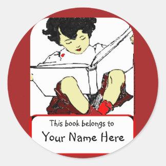 Child Reading Bookplate Round Sticker