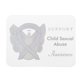 Child Sexual Abuse Awareness White Ribbon Magnets