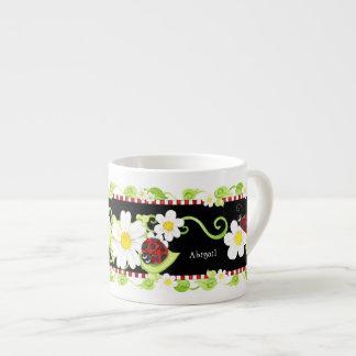 Child Size Teacup for Tea Parties, Ladybug flower Espresso Cup
