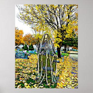 Child Spirit In Cemetery Spooky Art Poster