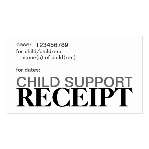 Child Support Receipt Cards Business Card Template