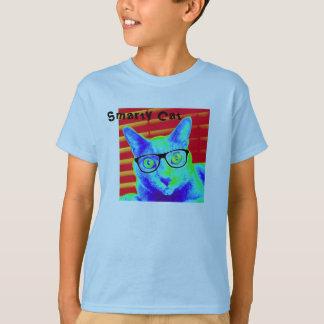 Child TShirt Green Blue Smarty Cat Glasses