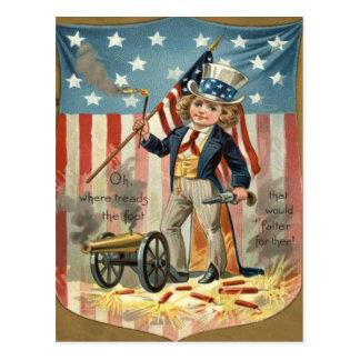 Child Uncle Sam Cannon Fire US Flag Postcard