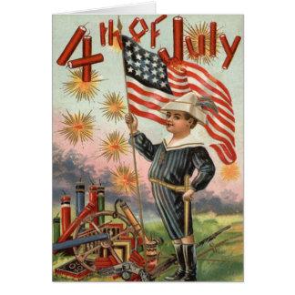 Child US Flag Fireworks Firecracker Explosion Greeting Card