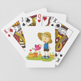 Child Watering Plants Playing Cards