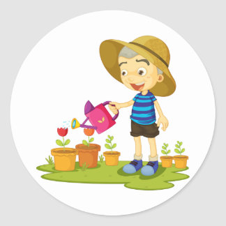 Child Watering Plants Stickers