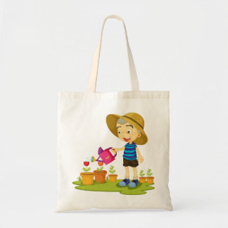 Child Watering Plants Tote Bag