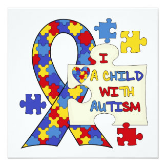 Child With Autism Awareness Ribbon 13 Cm X 13 Cm Square Invitation Card