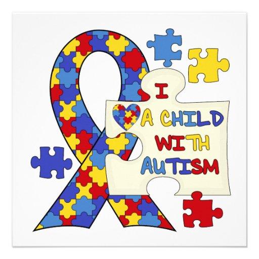 Child With Autism Awareness Ribbon Invites