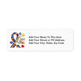 Child With Autism Awareness Ribbon Return Address Label