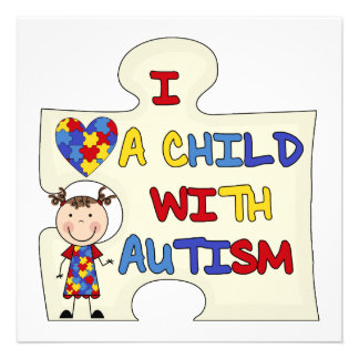 Child WIth Autism Brunette Girl 2 Custom Announcement