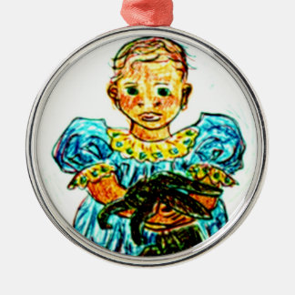 Child with Rabbit Round Metal Christmas Ornament