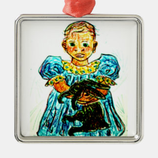 Child with Rabbit Square Metal Christmas Ornament