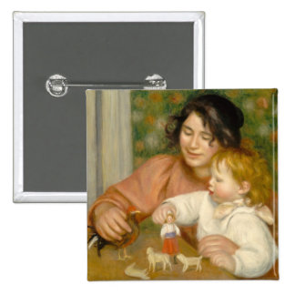 Child with Toys, Gabrielle and the Artist's son 15 Cm Square Badge