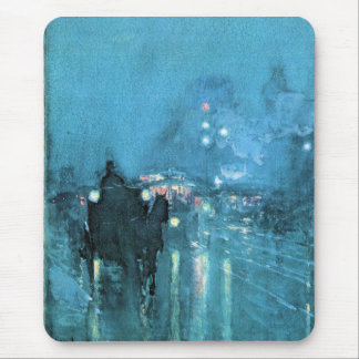Childe Hassam - Nocturne Railway Crossing Chicago Mouse Pad