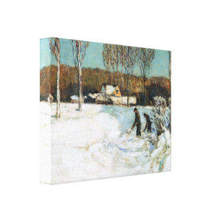Childe Hassam - Snow shovels New England Gallery Wrapped Canvas