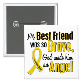 Childhood Cancer ANGEL 1 Best Friend Male Buttons