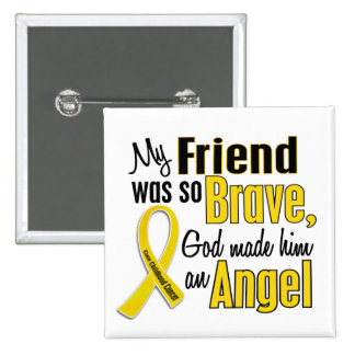 Childhood Cancer ANGEL 1 Friend Male Pinback Buttons