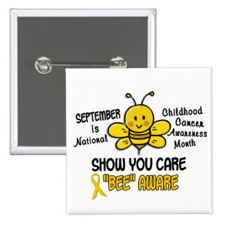 Childhood Cancer Awareness Month Bee 1 1 Pinback Buttons