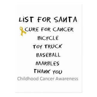Childhood Cancer Awareness Santa List Boys Postcard