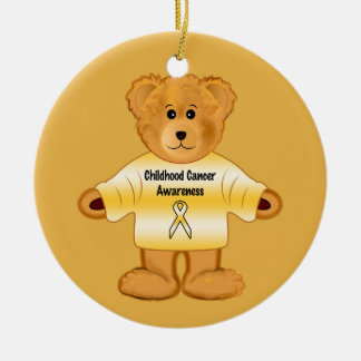 Childhood Cancer Awareness with Teddy Bear Round Ceramic Decoration