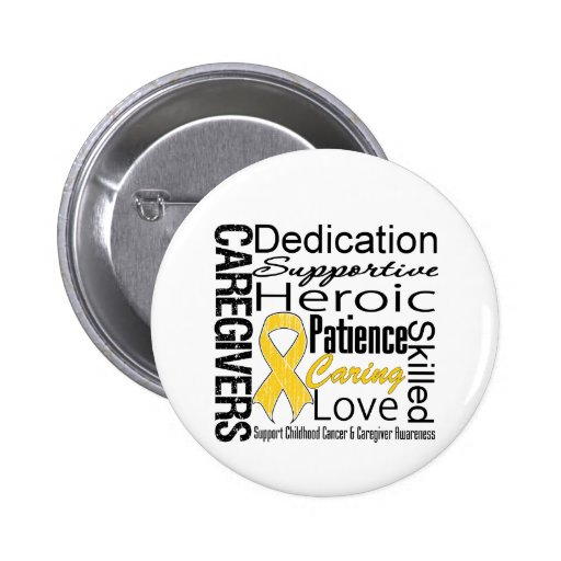 Childhood Cancer Caregivers Collage Pinback Buttons