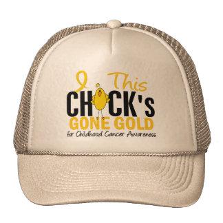 CHILDHOOD CANCER Chick Gone Gold Mesh Hats