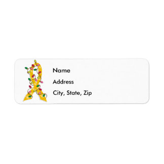 Childhood Cancer Christmas Lights Ribbon Return Address Label
