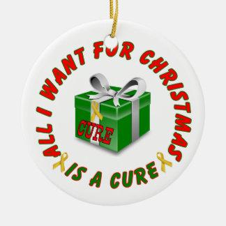 Childhood Cancer Gold Awareness Ribbon Christmas Ceramic Ornament