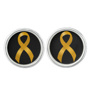 Childhood Cancer Gold Ribbon Cuff Links