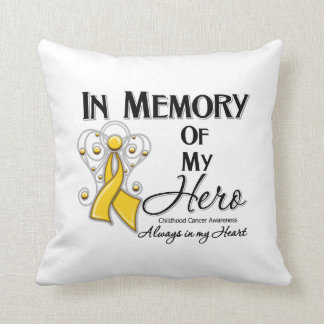 Childhood Cancer In Memory of My Hero Throw Pillow