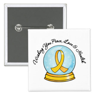 Childhood Cancer Merry Christmas Snowglobe Pins