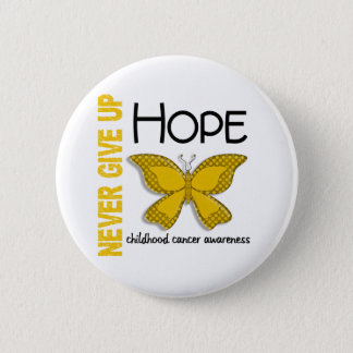 Childhood Cancer Never Give Up Hope Butterfly 4.1 6 Cm Round Badge